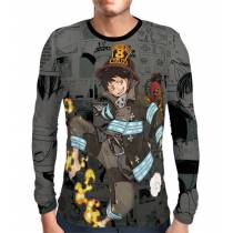 Camisa Manga Longa Color Print Exclusiva Shinra Modelo 02 Fire Force