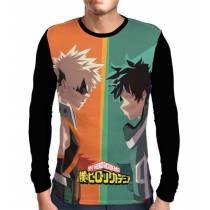 Camisa Manga Longa Kacchan e Deku - Bakugou e Midoriya - Boku No Hero Academia