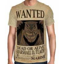 Camisa Full Print Wanted Barba Negra Marshal D Teach Com Recompensa - One Piece