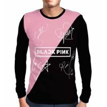 Camisa Manga Longa Blackpink - Autógrafos Preto/Rosa - Só Frente - K-Pop