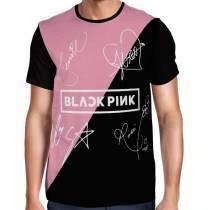 Camisa FULL Blackpink - Autógrafos Preto/Rosa/Branca - Só Frente - K-Pop