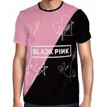 Camisa Full PRINT Blackpink - Nomes Preta/Rosa - K-Pop