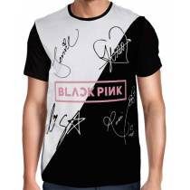 Camisa FULL Blackpink - Autógrafos Preto/Branco Especial - Só Frente - K-Pop