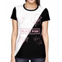Camisa FULL Blackpink - Pink Autographs Preto/Branca - Só Frente - K-Pop