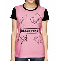 Camisa FULL Blackpink - Autographs Rosa - Só Frente - K-Pop