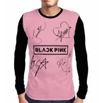 Camisa Manga Longa Blackpink - Autographs Rosa - Só Frente - K-Pop