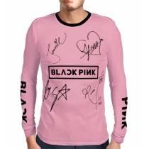 Camisa Manga Longa Print Blackpink - Nomes Rosa - K-Pop