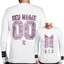Camisa Manga Longa Print BTS - Logo Personalizada Cherry Blossom Branca - K-Pop