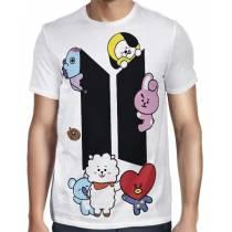 Camisa FULL BTS - UNIVERSTAR BT21 - Branca - Só Frente - K-Pop