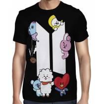 Camisa FULL BTS - UNIVERSTAR BT21 - Preta - Só Frente - K-Pop