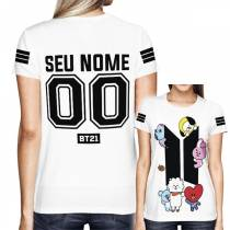 Camisa Full PRINT BTS - BT21 - Personalizada Branca - K-Pop