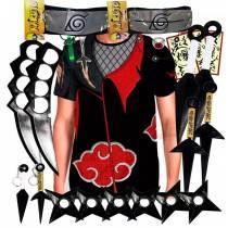 Kit Ninja Kunai Camisa Uniforme Akatsuki Naruto Anel Colar Shuriken Bandana Itachi K63