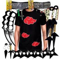 Kit Ninja Kunai Camisa Akatsuki Naruto Anel Colar Shuriken Bandana Itachi K60