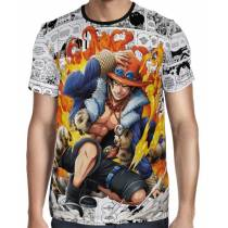 Camisa Mangá Portgas D' Ace Fire One Piece - Full Print
