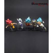 Kit 5 Action Figures Mini Dragon Ball Fukkatsu no F