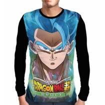 Camisa Manga Longa Face Blue God Gogeta - Dragon Ball Super: Broly