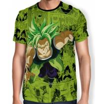 Camisa Full Print Green Mangá Broly - Dragon Ball Super