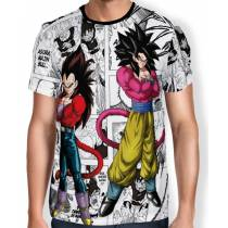 Camisa Full Print Mangá SSJ4 Goku E Vegeta - Dragon Ball Super