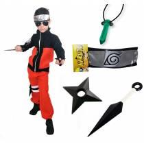 Kit Fantasia Naruto Infantil com Bandana Kunai e Colar C02