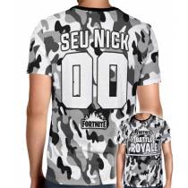 Camisa Full PRINT Camuflada Cinza Battle Royale  - Fortnite - Personalizada Modelo Nick Name e Número