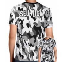 Camisa Full PRINT Camuflada Cinza Battle Royale - Fortnite - Personalizada Modelo Apenas Nick Name