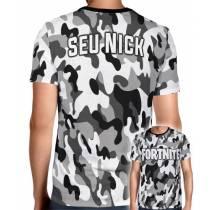 Camisa Full PRINT Camuflada Cinza Logo Fortnite - Personalizada Modelo Apenas Nick Name