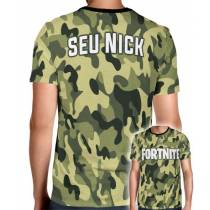 Camisa Full PRINT Camuflada Normal Logo Fortnite - Personalizada Modelo Apenas Nick Name