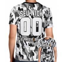 Camisa Full PRINT Camuflada Cinza Free Fire - Personalizada Modelo Nick Name e Número