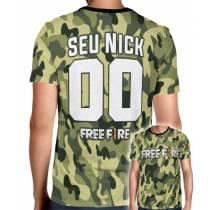 Camisa Full PRINT Camuflada Normal Free Fire - Personalizada Modelo Nick Name e Número