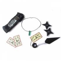 Kit Naruto Verde - Kunai  + Duas Shuriken + colar tsunade + Bandana Naruto + Tags