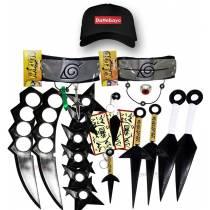 Kit Ninja Kunai Naruto Anel Colar Shuriken Bandana Boné Dattebayo K100