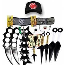 Kit Ninja Kunai Naruto Anel Colar Shuriken Bandana Boné Akatsuki K101