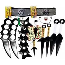 Kit Ninja Kunai Naruto Anel Colar Shuriken Bandana Itachi K-G