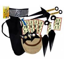 Kit Ninja Naruto Kunai Colar Azul Shuriken Bandana Minato K-I