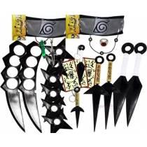 Kit Ninja Kunai Naruto Anel Colar Shuriken Bandana Itachi K-52