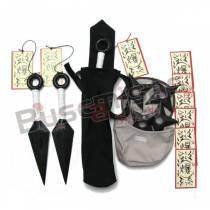 Kit Naruto Mega - Três Kunais + Quatro Shurikens + Porta Kunai + Porta Shuriken + tags