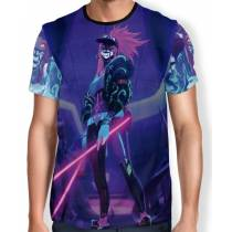 Camisa FULL Print Blacklights Akali K/DA - League of Legends