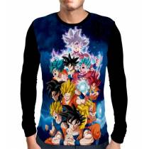 Camisa Manga Longa Goku Sayajin Forms - Dragon Ball Super