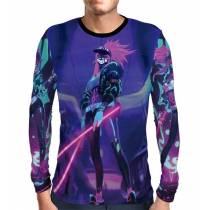 Camisa Manga Longa Print Blacklights Akali K/DA - League Of Legends