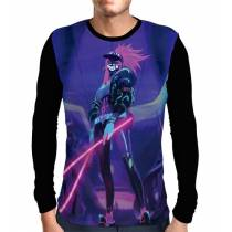 Camisa Manga Longa Neon Lights Akali K/DA - League Of Legends
