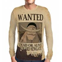 Camisa Manga Longa Print Wanted BARBA BRANCA EDWARD NEWGATE - ONE PIECE