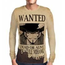 Camisa Manga Longa Print Wanted Dracule Mihawk V1 - One Piece
