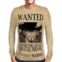 Camisa Manga Longa Print Wanted Dracule Mihawk V2 - One Piece