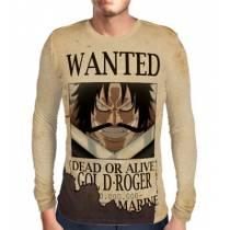 Camisa Manga Longa Print Wanted Gol D Roger - One Piece