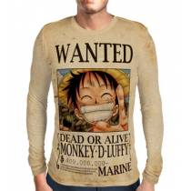 Camisa Manga Longa Print WANTED MONKEY D LUFFY V1 - ONE PIECE