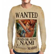 Camisa Manga Longa Print WANTED Nami V1 - ONE PIECE