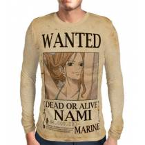 Camisa Manga Longa Print WANTED Nami V2 - ONE PIECE
