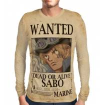 Camisa Manga Longa Print WANTED Sabo - ONE PIECE