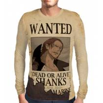 Camisa Manga Longa Print WANTED Shanks - ONE PIECE