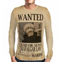 Camisa Manga Longa Print WANTED Trafalgar Law V1 - ONE PIECE